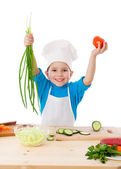 Little cooker with vegetables — Stock Photo