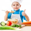Little cooker with salad and thumb up sign — Stock Photo