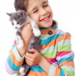 Stock Photo: Happy little girl cuddle kitten