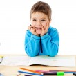 Smiling little boy draw with crayons — Stock Photo