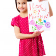 Stock Photo: Little girl with drawing for mum