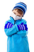 Boy in winter clothes and medical mask — Stock Photo