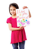 Little girl with drawing for mum — Stock Photo