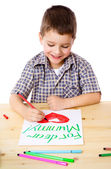 Little boy draw for mum — Stock Photo