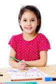 Little girl draw for mum — Stock Photo