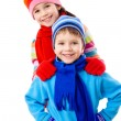 Two kids in winter clothes — Stock Photo #9164134