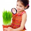 Girl looking through a magnifying glass — Stock Photo #9247614
