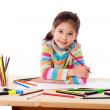 Inspired girl draw with crayons — Stock Photo