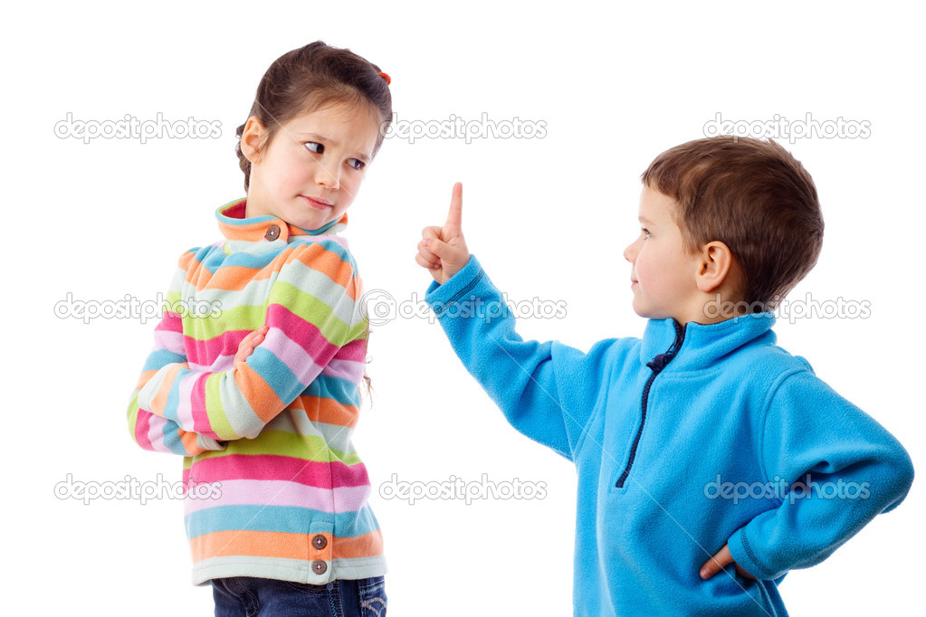 Two children who are arguing, isolated on white — Stock Photo #9735848