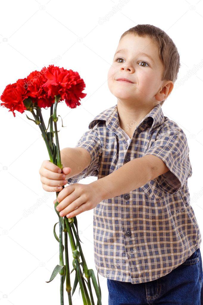 Фото мальчик цветы