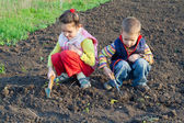 Two little children weed beds — Stock Photo