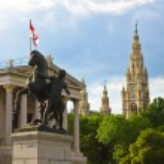 Parliament and Rathausplatz Tower — Stock Photo #8725153