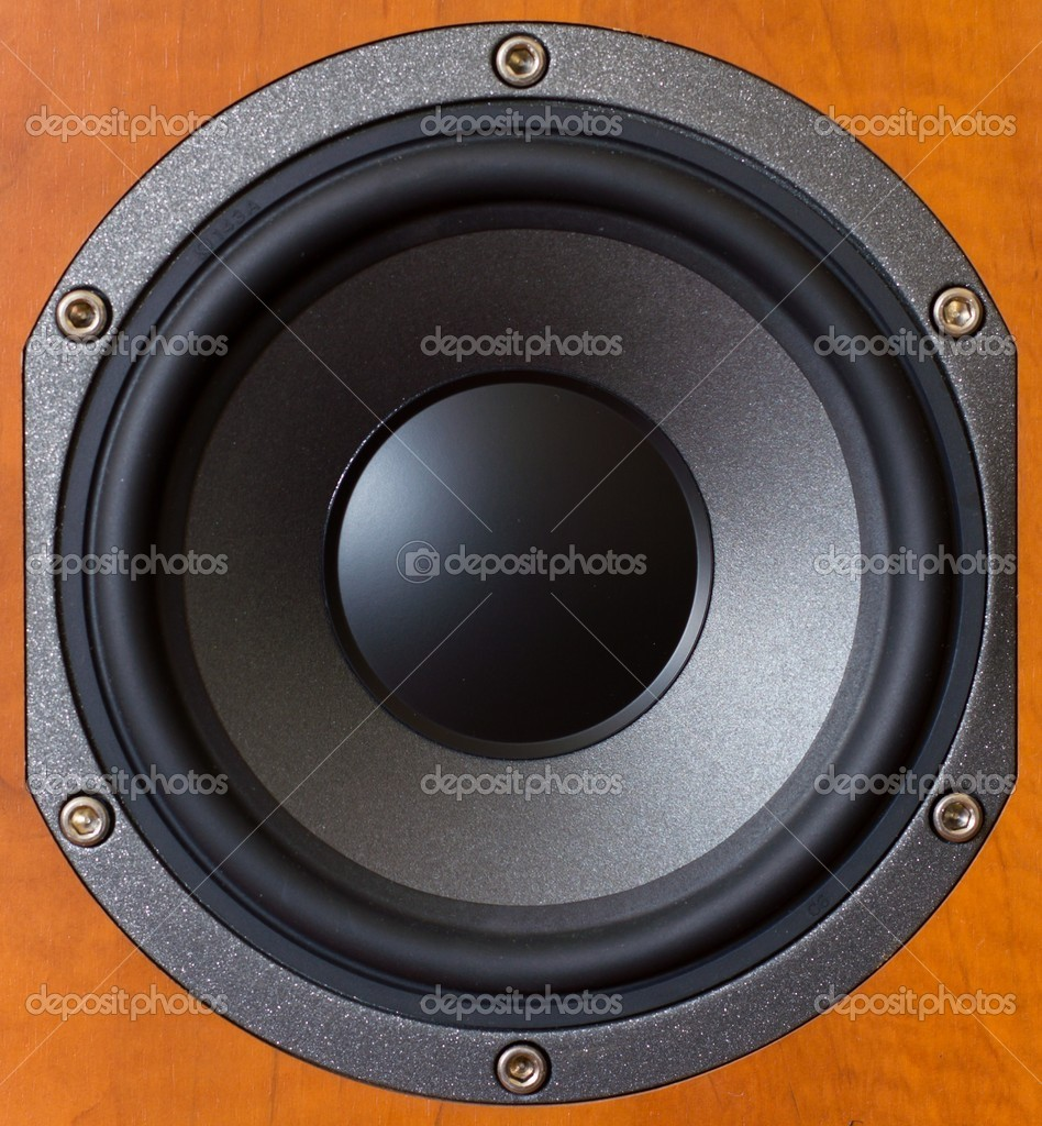 Close up of a wooden low tones speaker.  Stock Photo #9931520