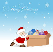 Santa with a box of presents — Stock Vector
