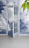 White door and blue sky — Stock Photo