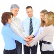 Smiling business holding hands together in a circle again — Stock Photo #10365499