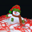 Toy decorated with a snowman, on a black background — Stock Photo