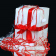 New year's gift decorated on a black background — Stok fotoğraf