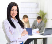 Nice business woman. On the day of plan discussion of the employees of the — Stock Photo