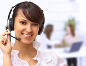 Beautiful woman operator in the office. — Stock Photo