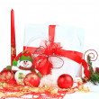 Christmas gift with red balls bow — Stock Photo #8134310