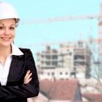 Smiling woman architect working — Stock Photo