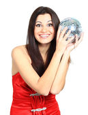 Attractive young beautiful woman with disco ball — Stock Photo