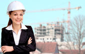 Smiling woman architect working — Stock Photo