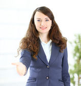 A beautiful young smiling business woman, happy and smiling , — Stock Photo