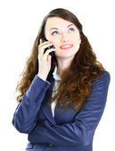 The positive business woman is in talks on the phone. — Stock Photo