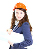 Beautiful businesswoman engineer with the work-plan office. — Stock Photo