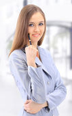 The beautiful business woman in the office — Stock Photo