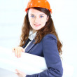 Royalty-Free Stock Photo: Beautiful businesswoman engineer with the work-plan office.