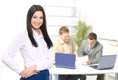 Nice business woman in the office. The conclusion of the transaction. — Stock Photo