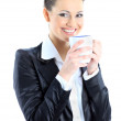 Nice business woman with a cup of coffee. Isolated on a white background. — Stock Photo