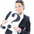 Beautiful businesswoman requests with the poster of the question. — Stock Photo #8751025
