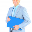 Good engineer keeps the laptop. Isolated on a white background. — Stock Photo