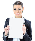 Beautiful business woman with a white banner. Isolated on a white background. — Stock Photo