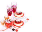 Valentine`s Day background with panacotta. — Stock Photo