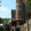 View of boldt castle from the grounds and corner tower -  