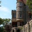 View of boldt castle from the grounds and corner tower - Stock Photo