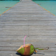 Tropical coconut drink on oceanside dock — Stock Photo