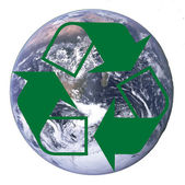 Planet earth with recycle arrows symbol — Stock Photo