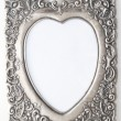 Pewter picture frame with blank romantic  heart shape — Stock Photo