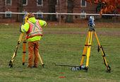 Cartographer doing land survey for construction — Stock Photo