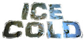 Ice cold sign on icecubes blue background — Stock Photo