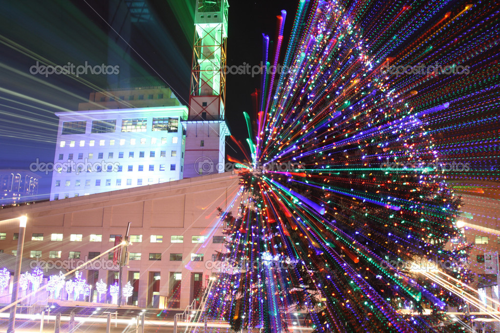 Mississauga city hall during christmas time with lights and zoom effect  Stock Photo #9294915