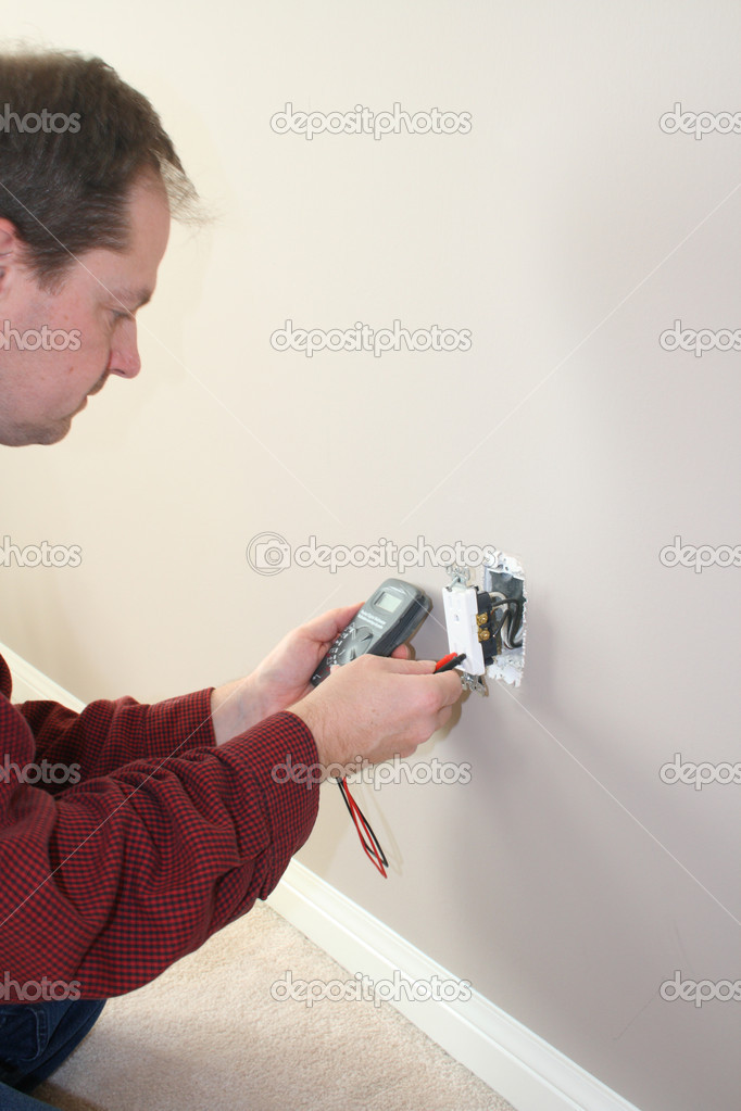 Electrician testing for power — Stock Photo #9297156