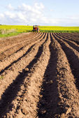 Spring tillage in the ground and tractor — Stock Photo