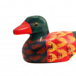 Isolated wooden and painted duck — Stock Photo